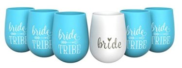 Bride Tribe and Bride Silicone Stemless Wine Glasses for Bachelorette Parties, Weddings and Bridal Showers (6 Piece Set)