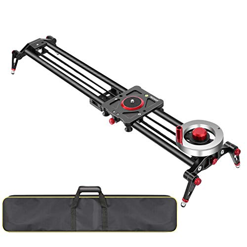 Neewer-Camera-Slider-Video-Track-Dolly-Rail-Stabilizer-31-inch80cm-Flywheel-Counterweight-with-Light-Carbon-Fiber-Rails-Adjustable-Legs-Carry-Bag-DSLR-Camera-Camcorder-Track-for-Filming