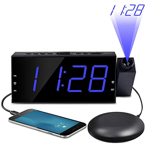 OnLyee Projection Ceiling Wall Clock with Bed Shaker, 7' LED Digital Desk/Shelf Clock with Dimmer, USB Charging, AC Powered and Battery Backup for Bedroom, Kitchen, Kids