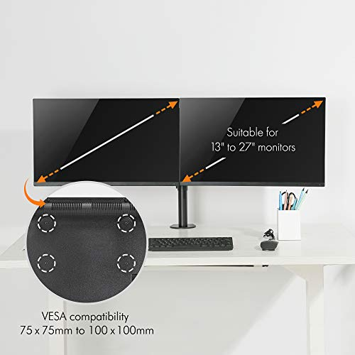 "41jEG%2BPNquL - VonHaus Dual Monitor Mount for 13-27"" Screens - Double Arm Desk Stand Bracket with Clamp - Ergonomic 90° Tilt, 360° Rotation & Twin 180° Swivel Arms - VESA Dimensions: 75x75-100x100"