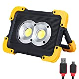 FISHNU Nylon Case Rechargeable LED Work Lights,1800Lm LED Flood Light,Built-in Lithium Batteries with USB Port to Charge Mobile Devices(Round COB)