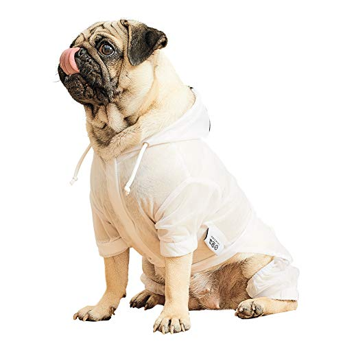 Nourse CHOWSING Dog Waterproof Outdoor Jacket,Windproof,Cold Weather Coat,Lined Reflective Jacket with a Tape Measure (M, White)