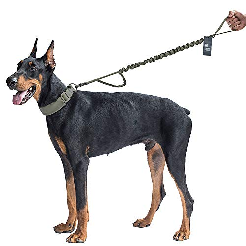 OneTigris Tactical Dog Training Bungee Leash with Control Handle Quick Release Nylon Leads Rope 1