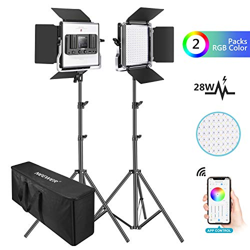 Neewer-2-Packs-480-RGB-Led-Light-with-APP-Control-Photography-Video-Lighting-Kit-with-Stands-and-Bag-480-SMD-LEDs-CRI953200K-5600KBrightness-0-1000-360-Adjustable-Colors9-Applicable-Scenes