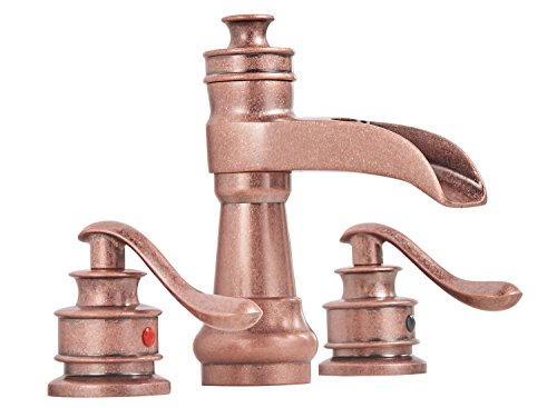 BWE Waterfall 8-16 Inch 3 Holes Two Handle Widespread Commercial Bathroom Sink Faucet Copper