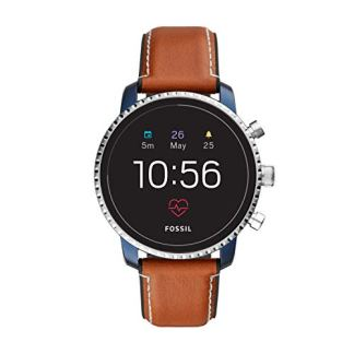 Fossil Men's Gen 4 Explorist HR Stainless Steel and Leather Touchscreen Smartwatch, Color: Blue, Brown (Model: FTW4016)