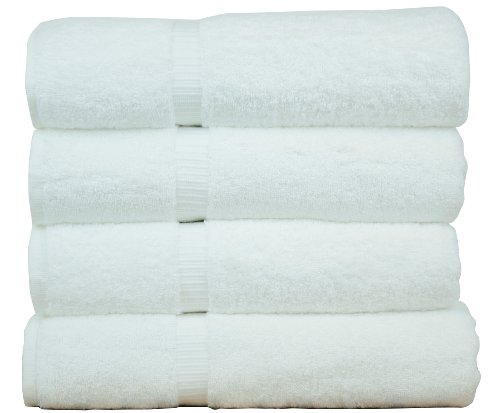 Luxury Hotel & Spa Bath Towel 100% Genuine Turkish Cotton, 27' x 54' ,Set of 4,White