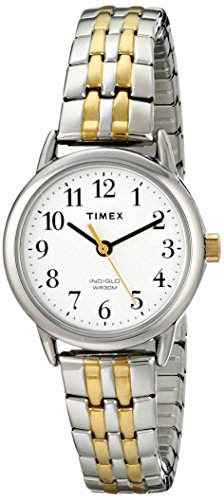 41jgXvSYQwL Easy-to-Read White Dial with Full Arabic Numerals Polished Two-Tone Stainless Steel Expansion Band Polished Silver-Tone Case
