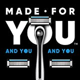 Made For YOU by BIC Shaving Razor Blades for Men & Women, with 2 Cartridge Refills - 5-Blade Razors for a Smooth Close Shave & Hair Removal, SILVER