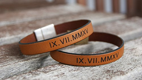 Personalized Leather Bracelets Set of 2 Matching Roman Numerals ...