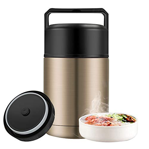 Food Jar Wide Mouth for Hot Food,27 oz BPA Free Thermos Lunch Box with Handle Lid,Leak Proof Double Wall Vacuum Insulated Soup Container,Stainless Steel Thermal Food Flask for Ice Snack (Gold)