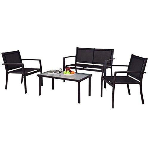 Tangkula Patio Furniture Set 4 Piece Outdoor Patio Steel Frame Table ...