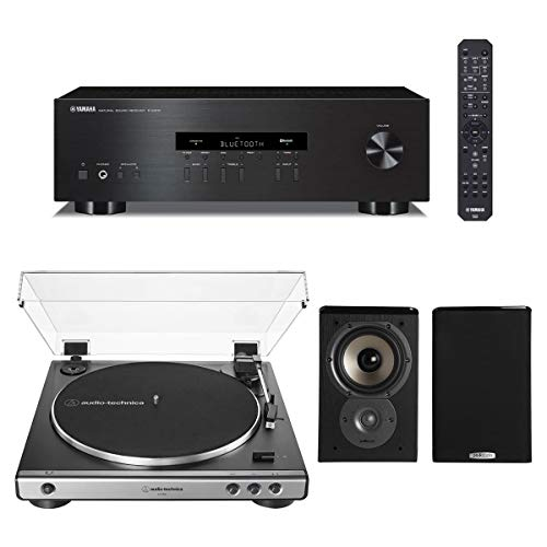 Yamaha R-S202 Bluetooth Stereo Receiver with Audio-Technica AT-LP60X Automatic Belt-Drive Stereo Turntable and Polk TSi100 Bookshelf Speakers - Pair