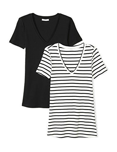41jubbT%2BSIL A 2-pack of short-sleeve tees combines a seamed V-neckline with a straight hem for versatile, everyday wear Midweight Supima is made with 100%certified Supima Cotton for a supremely soft feel and flattering drape Start every outfit with Daily Ritual's range of elevated basics