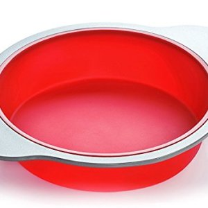 Silicone Round Cake Pan | Large 22 cm Baking Cake Mold by Boxiki Kitchen | Best Non-Stick Bakeware | FDA-Approved Silicone w/Heavy Grade Steel Frame and Handles 41juu9DtecL