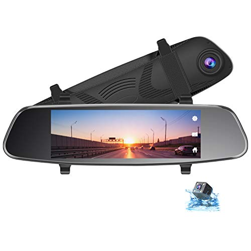 TOGUARD 8' Mirror Dash Cam, Dual Lens Touch Screen Rear View Mirror Camera 1080P Front and 720P Backup Camera with G-Sensor Parking Monitor