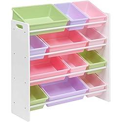 Honey-Can-Do Kids Toy Organizer and Storage Bins, White/Pastel