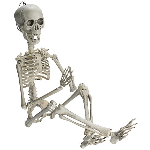 """Prextex 19"""" Posable Halloween Skeleton- Full Body Halloween Skeleton with Movable /Posable Joints and 2 Sets of Body Accessories for Best Halloween Decoration"""