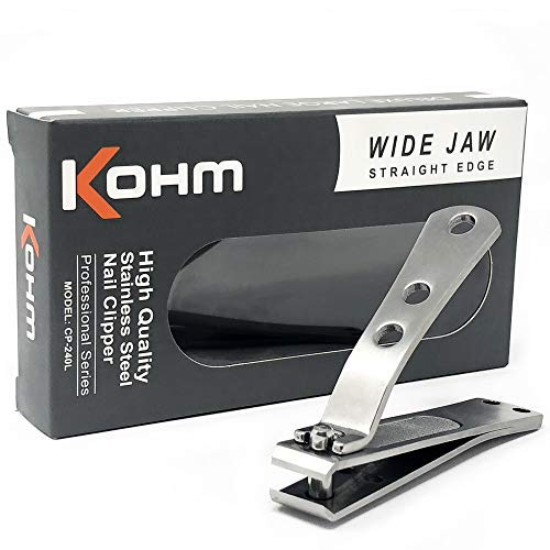 Kohm CP-240L Wide Jaw, Straight Edge Toenail Clipper for Thick Nails