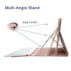 New iPad 9.7 2017 Keyboard Case, COO Wireless Removable Bluetooth Keyboard Case Cover with Multi-Angle Stand for Apple New iPad 9.7 2017, iPad air 1/2,iPad Pro 9.7 Tablet (Champagne)