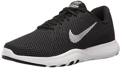 Nike Women's Flex Trainer 7 Cross, Black/Metallic Silver - Anthracite - White, 8.5 B(M) US