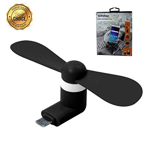 Audiology Connect Portable Mini Fan, Mobile Fan, Small Mobile Fan with Micro USB for Cell Phone Samsung Android Smartphones Galaxy S6/Galaxy S7 and Edge/HTC One X/Nokia 5230