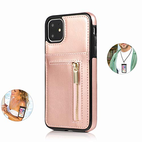 Case for iPhone XR Luxury Leather Wallet with Viewing Stand and Card Slots Bussiness Phone Case [with Free Waterproof Case]