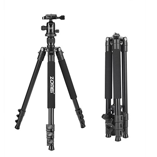 Zomei Q555 Lightweight Alluminum Alloy Camera Tripod with 360 Degree Ball Head + 1/4″ Quick Release Plate For Canon Nikon Sony Samsung Panasonic Olympus Fuji DSLR And Camcorders