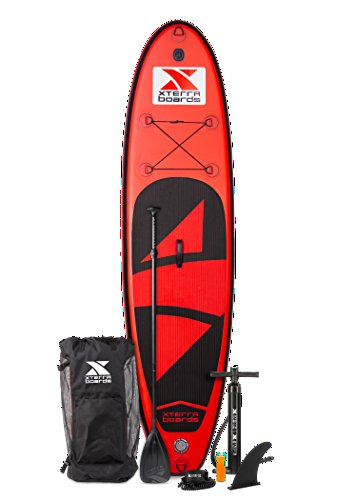XTERRA Boards Inflatable 10' Stand Up Paddle Board Premium SUP Bundle | Includes Board (6' Thick), Pump, Adjustable Paddle, Easy Transport Back Pack, Ankle Leash and Repair Kit (Red)