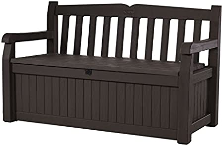Amazon Com Keter Eden 70 Gallon Storage Bench Deck Box For Patio Furniture Front Porch Decor And Outdoor Seating Perfect To Store Garden Tools And Pool Toys Brown Brown
