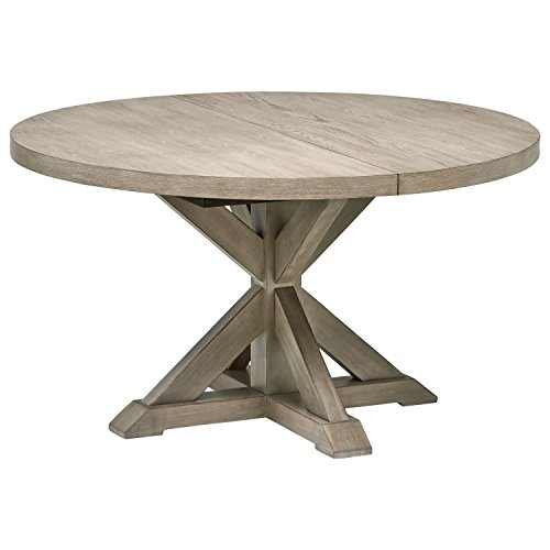 Stone & Beam Creston Modern Expandable Wood Dining Kitchen Table, Round, 72'W, Oak