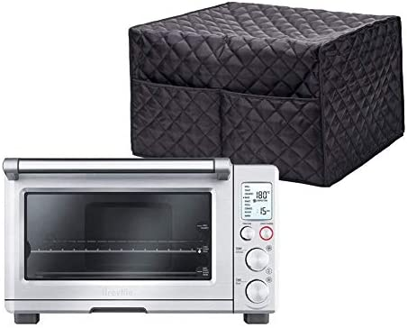 Hallart Smart Oven Cover Convection Toaster Oven Cover Large Size Square Kitchen Appliance Cover Kitchen Appliance Case With 2 Accessary Pockets, Machine Washable,Black