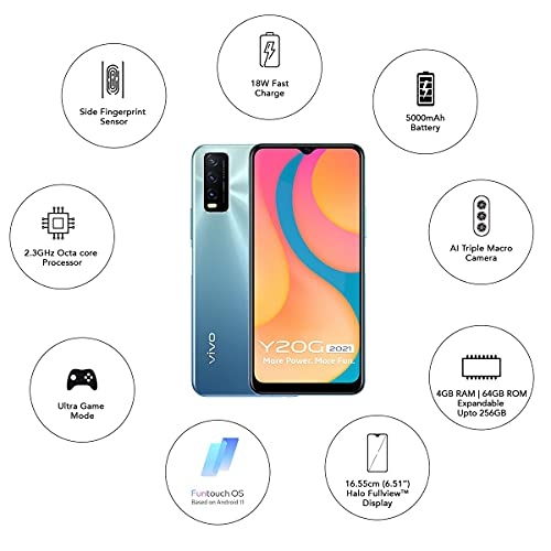 41kBS7PlHMS Vivo Y20G 2021 (Purist Blue, 4GB RAM, 64GB Storage) with No Value EMI/Further Alternate Gives