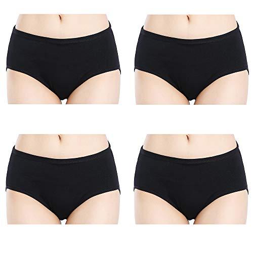 Closecret Women Comfort Cotton Stretch Classic Briefs Panties (4 Black, S(Waist:26-27inch))