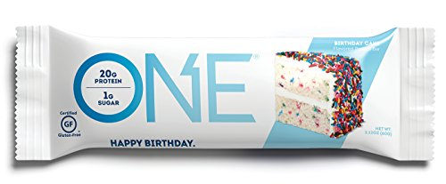 ONE Protein Bar, Birthday Cake, 2.12 oz. (12 Pack), Gluten-Free Protein Bar with High Protein (20g) and Low Sugar (1g), Guilt Free Snacking for Healthy Diets