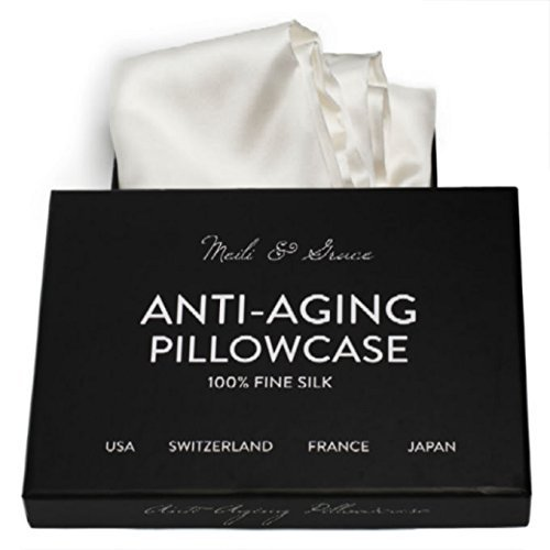 Anti-Aging 100% Mulberry Silk Pillowcase by Meili & Grace-The Best Silk Pillowcase for Your Face and Hair - Prevents Crow's Feet + Forehead Wrinkles + Fine Lines. Eliminates Hair Frizz and Tangling.