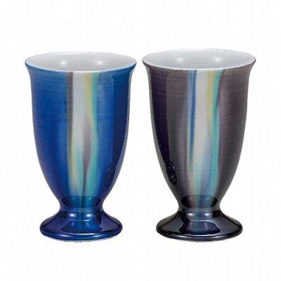 Jpanese traditional ceramic Kutani ware. Set of 2. Guinomi Sake cup. Yusai. With paper box. ktn-K5-1167