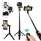 YunTeng Selfie Stick Tripod,40 Inch Extendable Selfie Stick Tripod with Wireless Remote Control,Compatible with iPhone 6 7 8 X Plus, Samsung Galaxy S9 Note8, Gopro,Digital Cameras