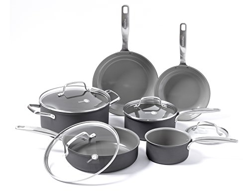 GreenPan Chatham ceramic Non-Stick 10Pc Cookware Set, Grey - CC000126-001