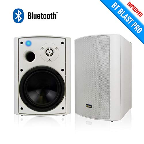 Wireless Outdoor Speakers, Bluetooth 6.50' Indoor/Outdoor Weatherproof Patio Speakers,White, Pair, by Sound Appeal