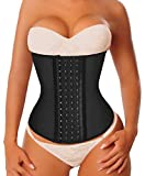 YIANNA Waist Trainer Corset for Weight Loss Latex Colombiana Waist Cincher Slimming Hourglass Body Shaper, Size XS (Black)