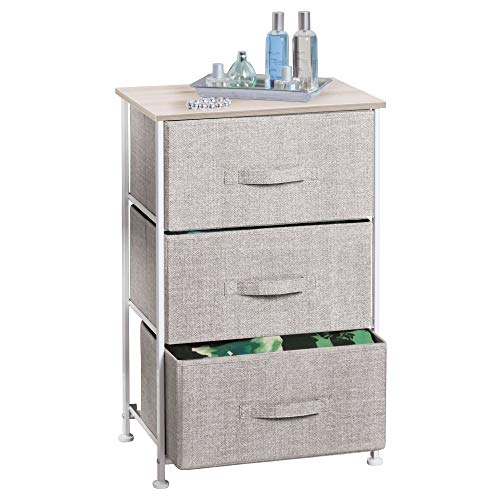 mDesign Fabric 3-Drawer Storage Organizer Unit for Closet, Bedroom, Entryway - Linen