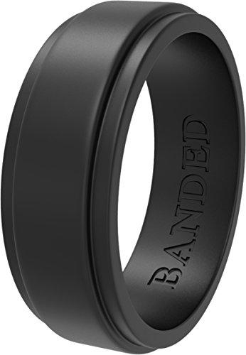 BANDED GLORY Silicone Wedding Ring Rubber Wedding Bands Safe, Soft, Step Edge Design, Wide Black 9