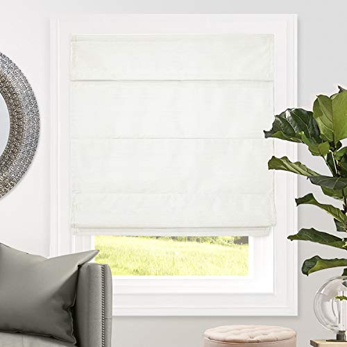 CHICOLOGY Cordless Roman Shades Blackout Lining Cascade Window Blind 34' W X 64' H Lux Porcelain (Room Darkening)
