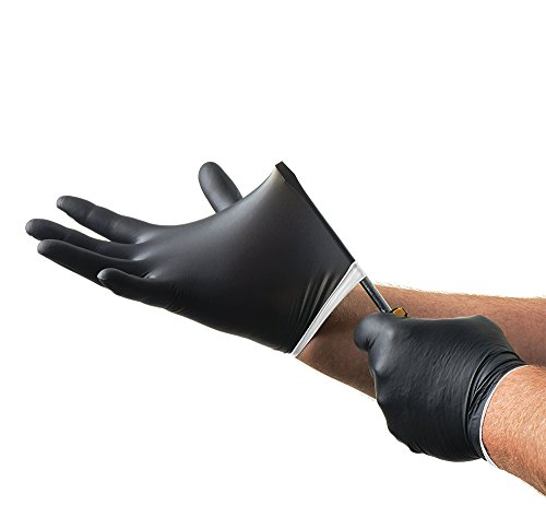 Venom Steel Nitrile Gloves, Rip Resistant Disposable Latex Free Black Gloves, 2 Layer Gloves, 6 mil Thick,  Medium (Pack of 100) deal 50% off 41kYz2zrVrL