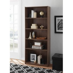 Mainstay 5-Shelf Wood Bookcase – Walnut