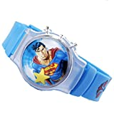 DC Comics Superman Flip Top Digital Plastic Watch w/ Floating Star and Lights