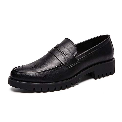 GLSHI Men Casual Oxford Comfortable Fashion Loafers PU Leather Upper Troll Toe Breathable Abrasion Resistive Flats Shoes Black, Size : 8 M US