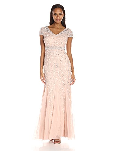 41khJJ0pDOL V-neck beaded lace gown featuring cap sleeves and godet-pleated skirt Beaded belt at waist Concealed back zipper
