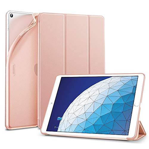 ESR Rebound Slim Smart Case Specially Designed for iPad Air 3 10.5' 2019, Flexible TPU Back Cover with Rubberized Coating,Auto Sleep/Wake and Viewing/Typing Stand for iPad Air (3rd Gen)2019, Rose Gold